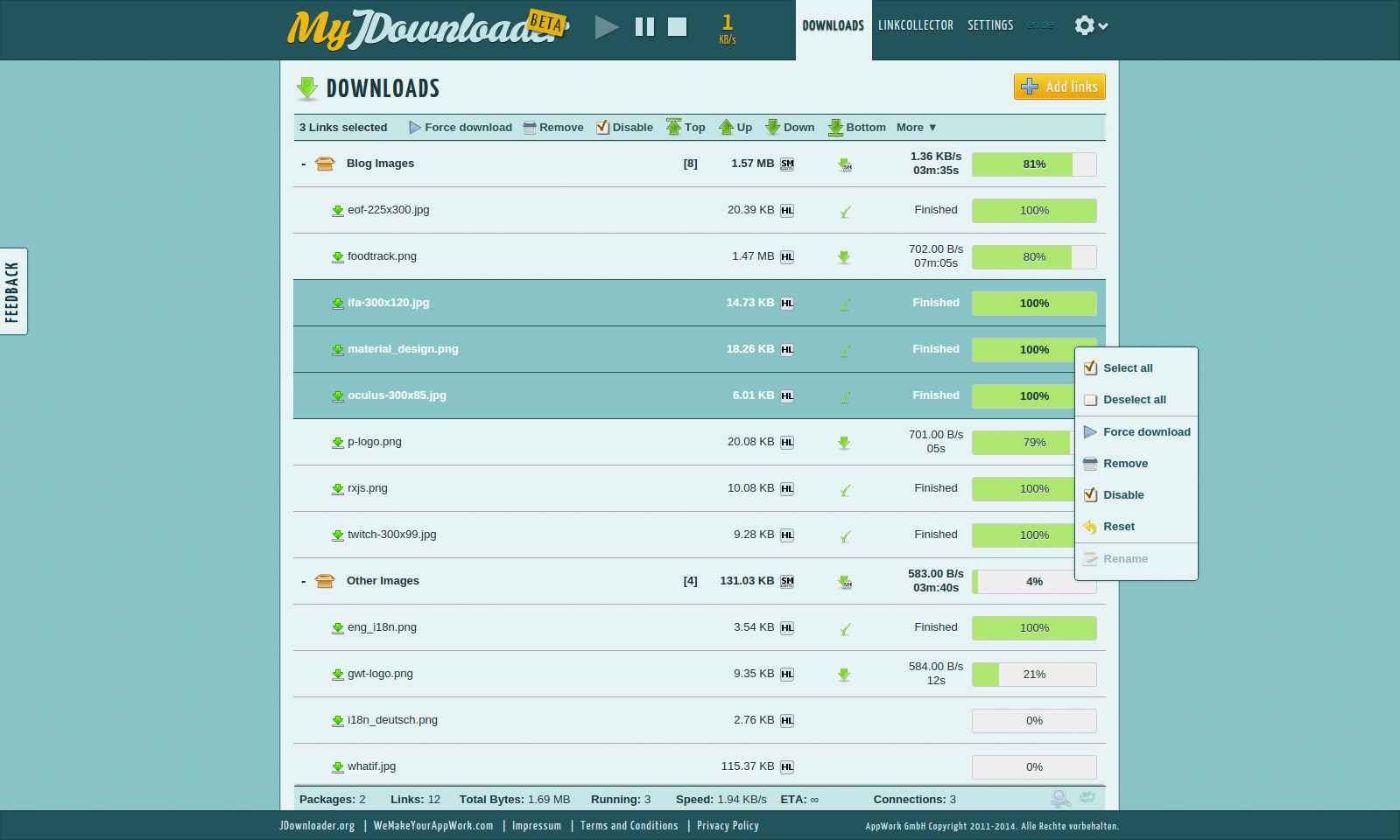 MyJDownloader Downloads View