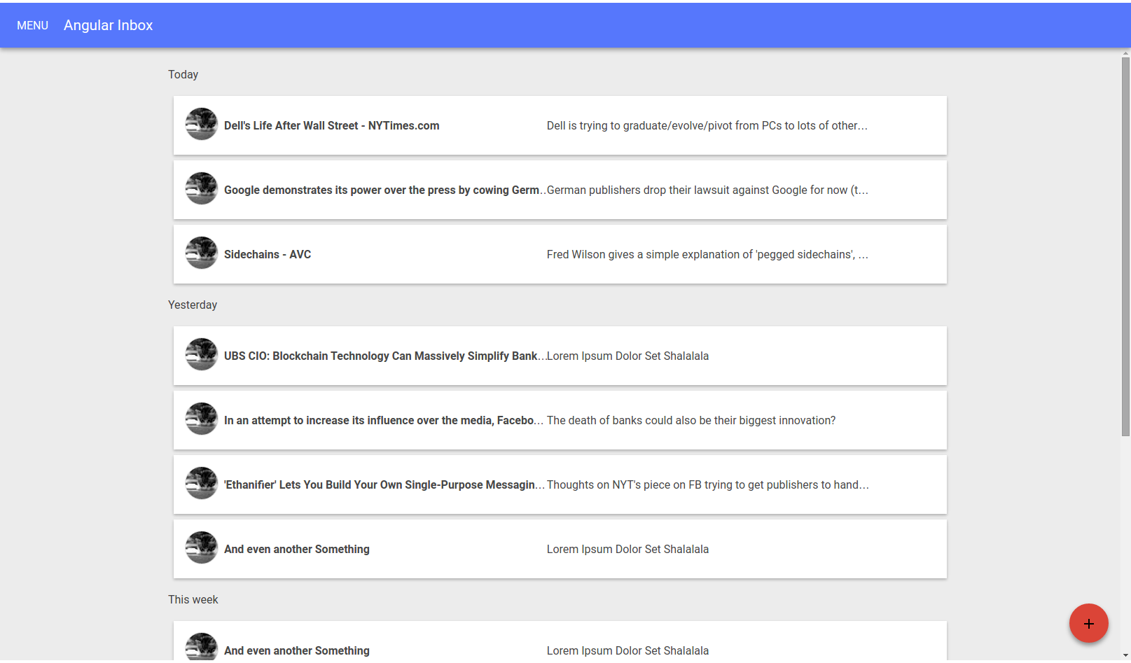 Mock Up of Google Inbox style front end in Angular Material Design